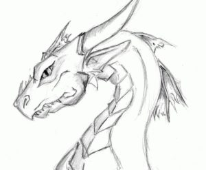 Image of an upper part of a lean looking dragon with horns