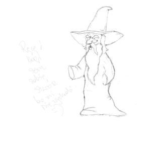 Image of a wizard with a long beard and a pointy hat but without hands or feet drawn