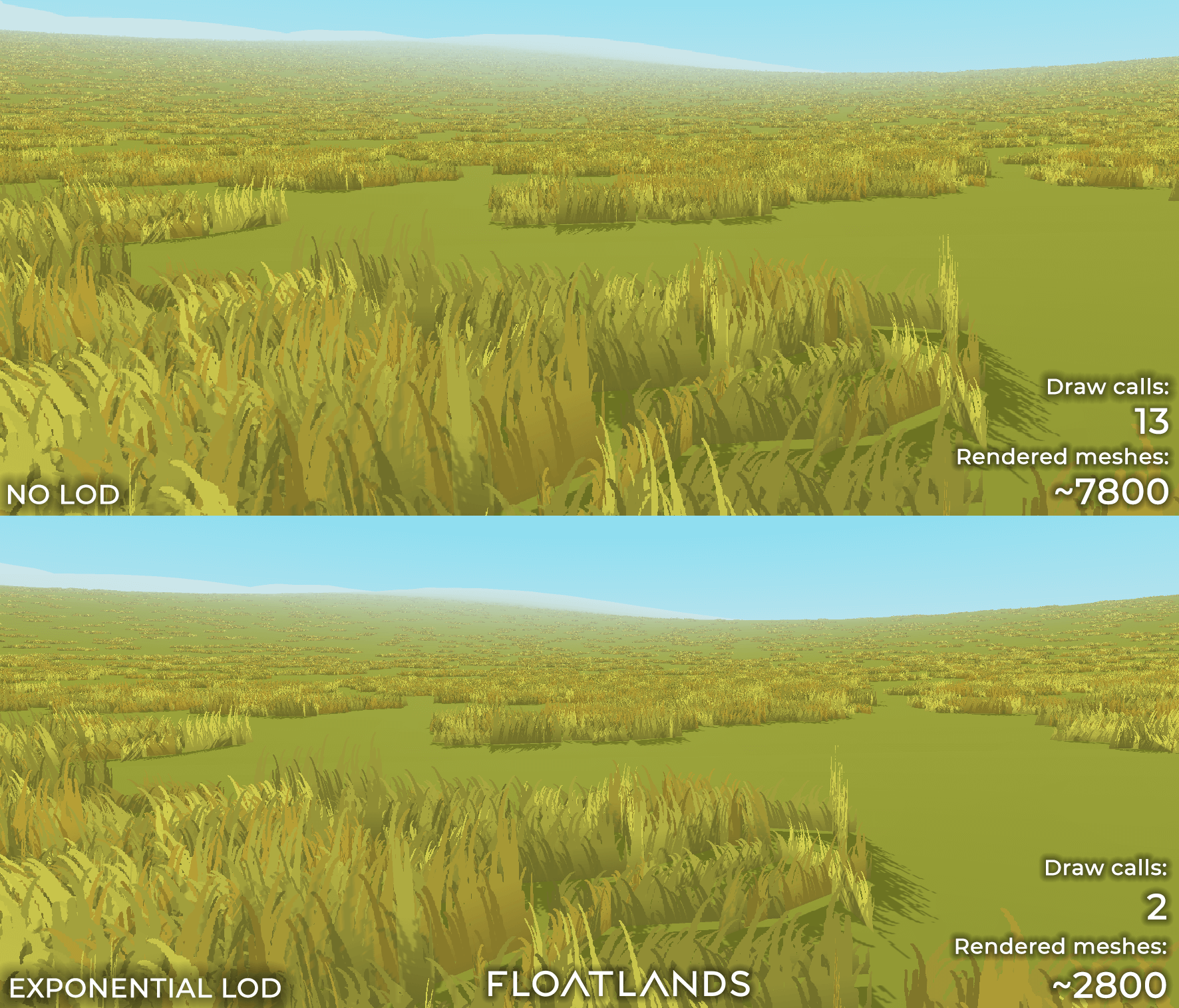 riverbanks trees floating stones lod test lowpoly floatlands