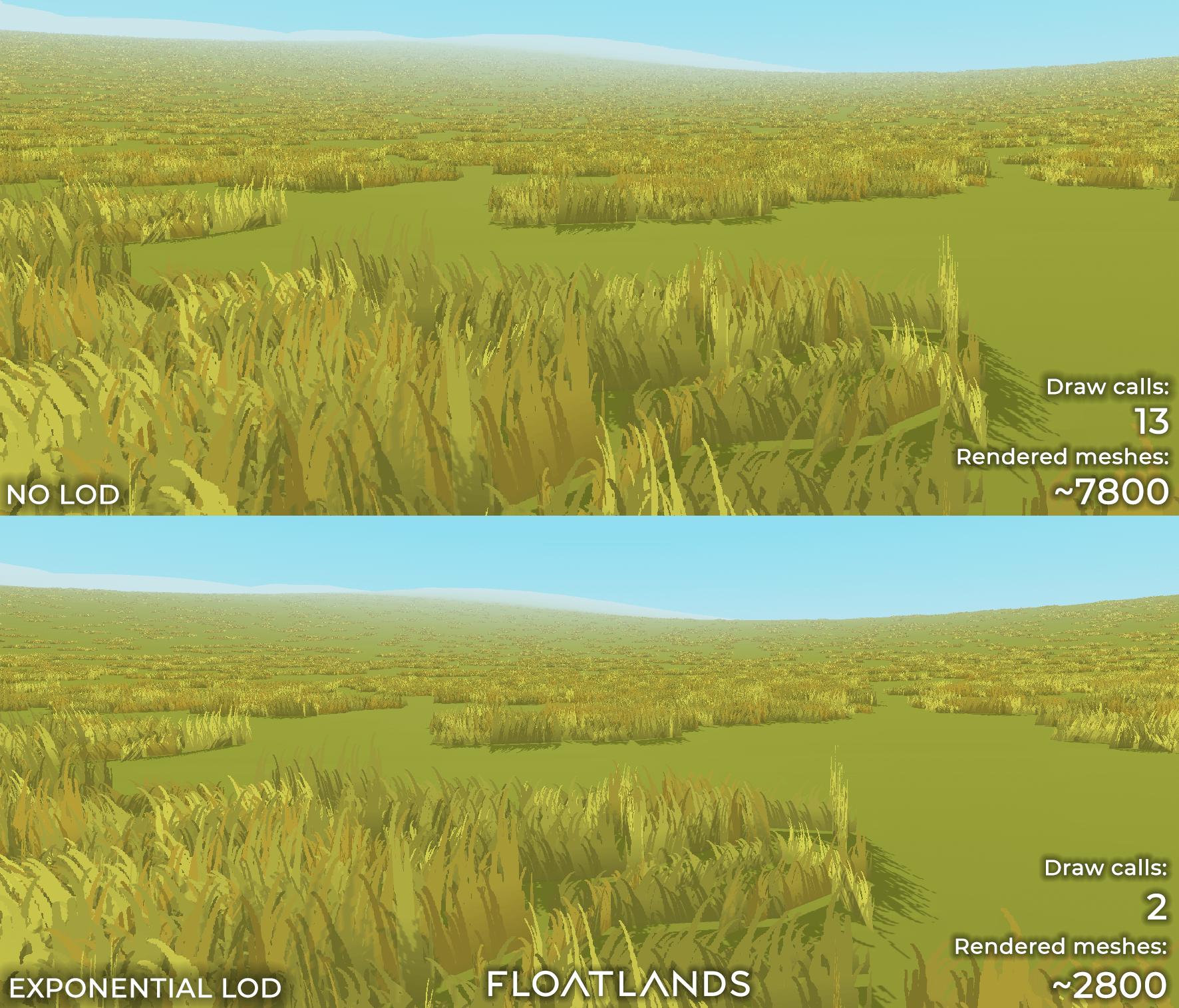 riverbanks trees floating stones lod test lowpoly floatlands
