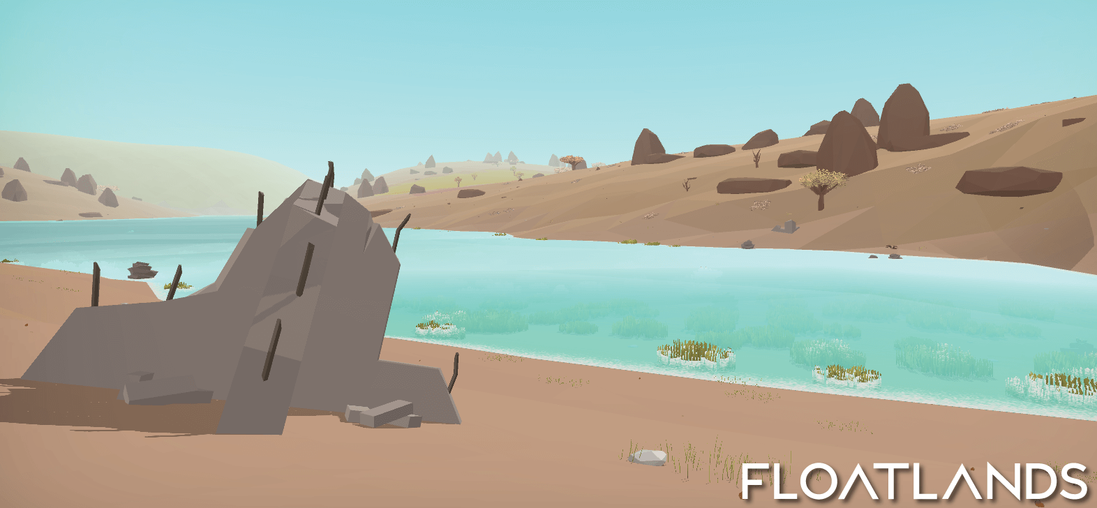 riverbanks trees floating stones ruins riverbank lowpoly floatlands