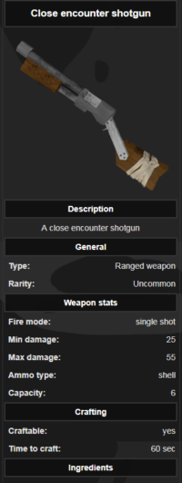 An example of weapon item template on Wiki