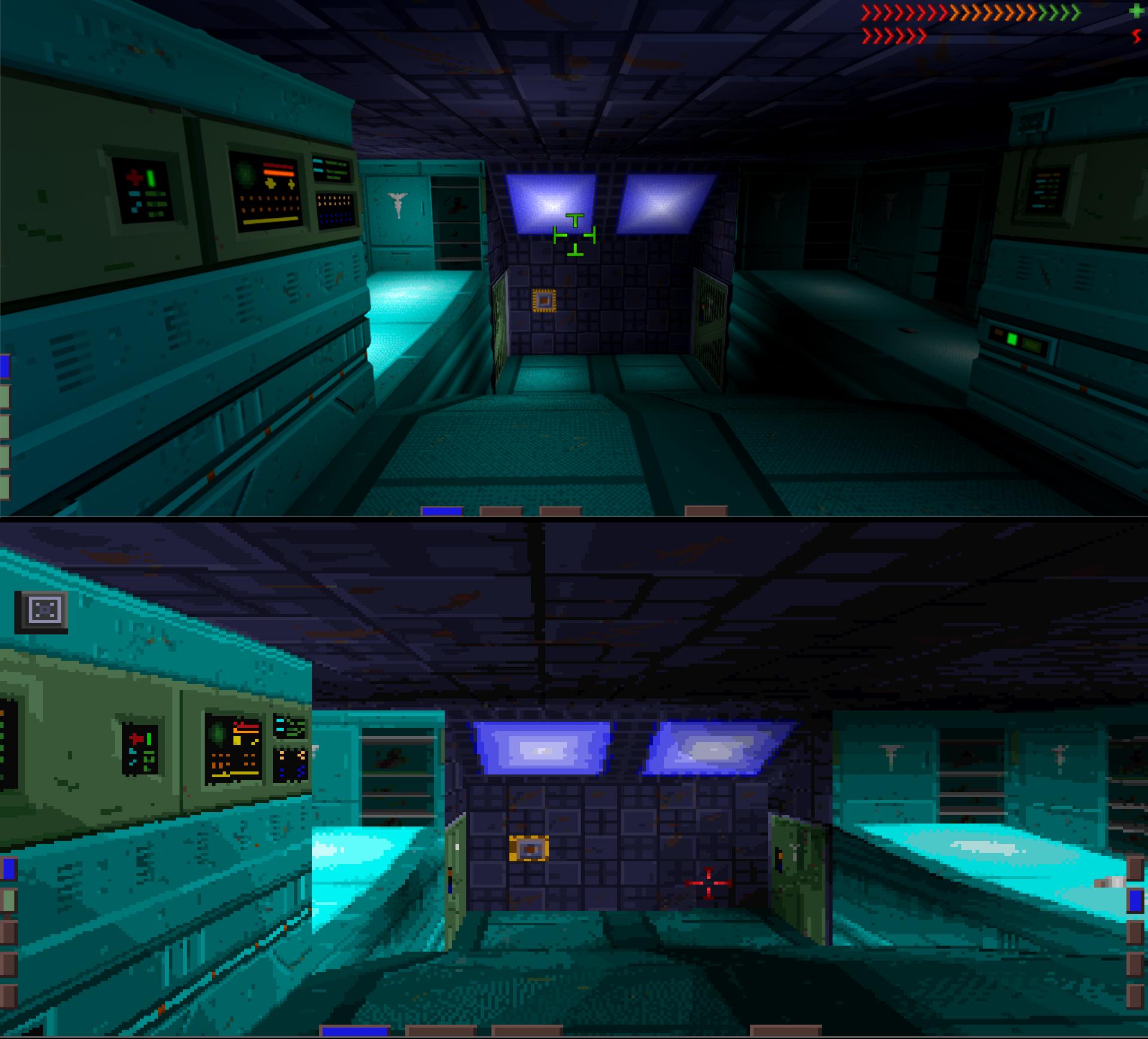 Comparison of Citadel's enhanced geometry versus original game.