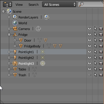 Fridge object hierarchy in Blender