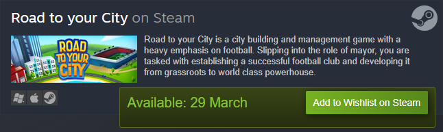 Road to your City - Steam wishlist