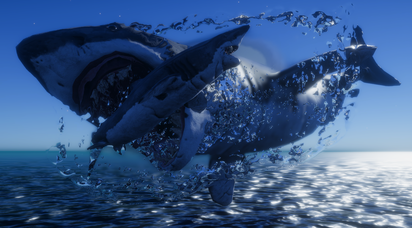 Showing an Early shark attack image, during the day time with the water distorting the image like real life.