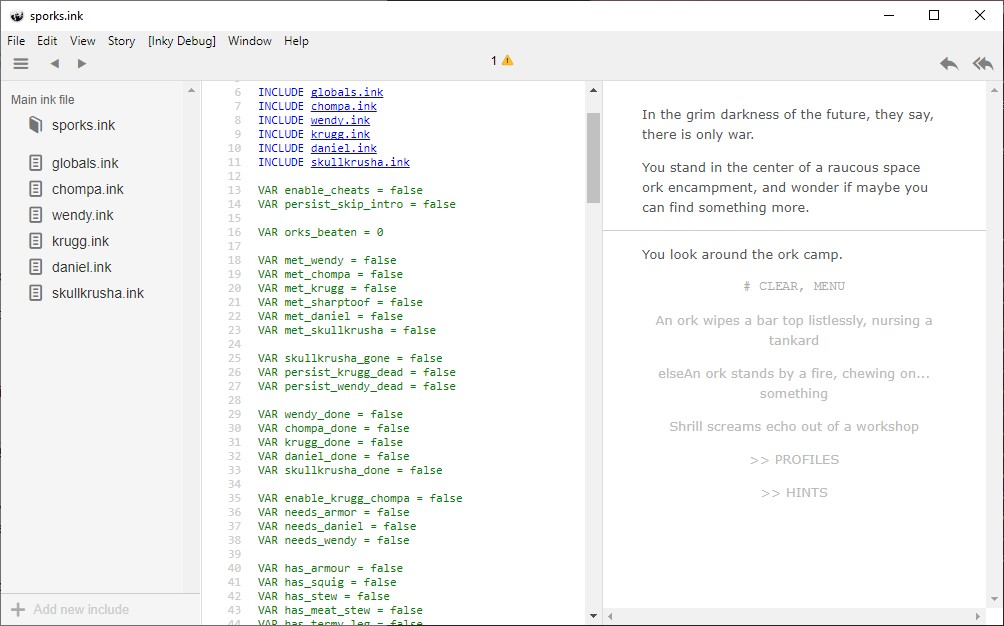 A screenshot of the Inky editor