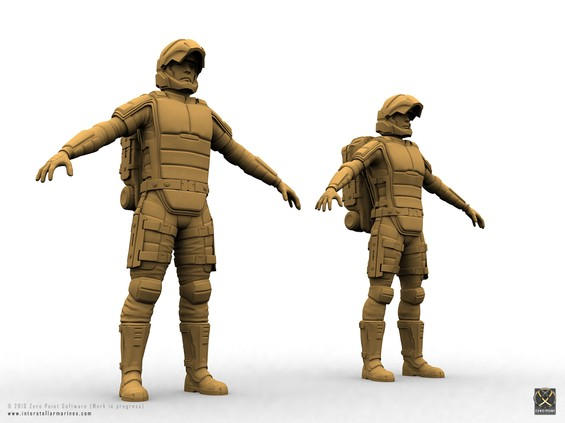 Male and Female in standard Interstellar Marines zero environment combat suit. Sorry, no Lara Croft chest available with this special forces equipment!