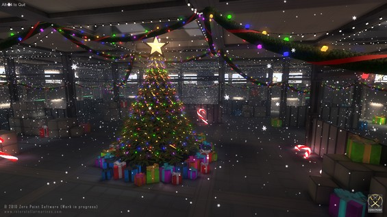 Merry Interstellar Christmas from Zero Point Software. Screenshot from our special Xmas present level build on Unity; a fun playground for getting up to speed with the many new wonderful features of Unity 3.