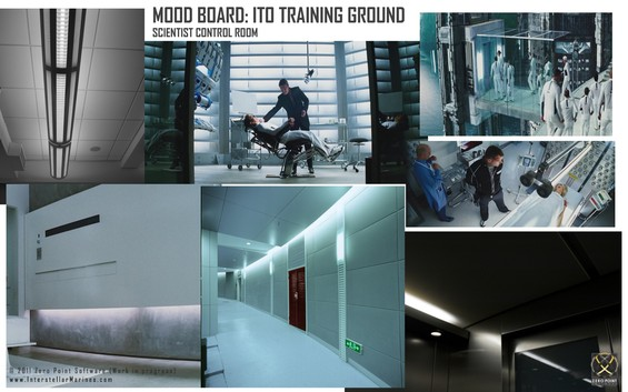 Each time we start work on a new environment for the game (in this case a scientific medical center) we immediately try to define the look and feel of the environment by creating an initial Moodboard by