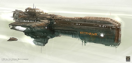 The AIV Kitty Hawk space carrier (Attack Insertion Vessel class) in one of its early concept iterations. Twin docking bays holds Megalodon class dropships on a 24-7-365 standby for deploying two Interstellar Marines fire-teams anywhere in the solar system!