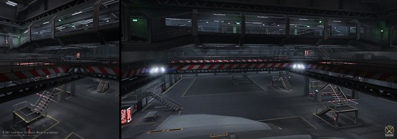 First in-game environment test created back in 2004 (UT2003) of the twin docking bays and maintenance areas inside the Attack and Insertion Vessel class space carriers. We are so looking forward to recreating this in full next-gen glory in Unity sometime in the future.