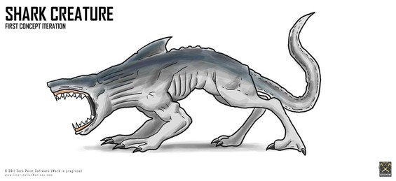 The rules for Picture of the Week is that there are no rules. So, here is one of the first concepts of our genetically engineered Carcharodon Polemos (Shark Creature) ..