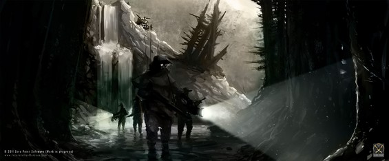 Jack Torillo and his research team on an expedition deep inside the northern forests of quadrant 24, just 50 clicks from ITO's colony on Valhalla.