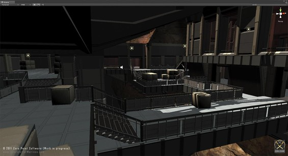 This weeks POTW is an early dumb of a map in-development for Deadlock, internally codenamed RiftWars. The map is created by Jess Rahbek (Our beloved Level Designer on Running Man). RiftWars is a small intense map (4-8 player) comprised of platforms, walkways, bridges and small hangars all exposed around a big underground grater.