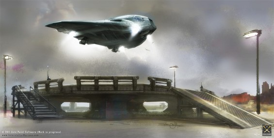 Somewhere in the Mojave Desert, South Nevada USA, a Megalodon class Dropship is seconds into dust-off, with full thrust on all VTOL exhausts, lifting off violently from one of the top-side launch pads of ITO's Training Grounds. Estimated wheels-down in 40mins inside Docking Bay 2 of AIV Kitty Hawk.