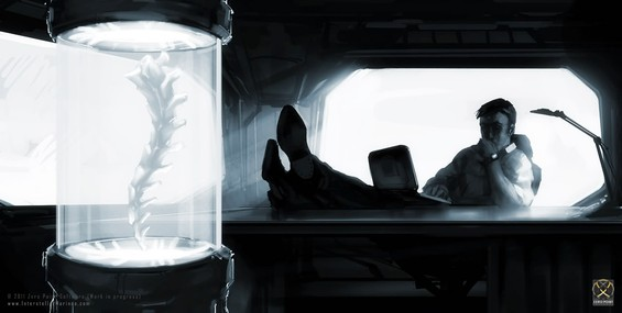 Jack Torillo setting at his desk, lonely, trying to get his head around a data-report from 'SARA'. Torillo is ITO's Chief S.E.T.I. Researcher and the 'father' of the Interstellar Marines program:
