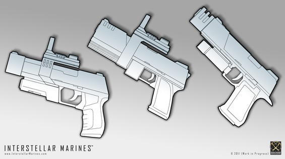 Nostalgia-trip; three initial pistol concepts I did (hence the low quality) back in 2003 when Nics, Gert and I was slowly getting started. From left stable, 3-round burst and high caliber models. Heavily inspired by real-life counterparts,can you guess which?