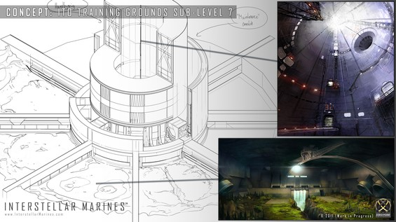 Blueprint overview detailing how we're envisioning the various artificial training cave arenas and sub-levels of Deadlock to be structured. The facility blueprint and the cave concept comes from the hand of ScribbleHEAD and the silo concept is one of Cottas earlier pearls.