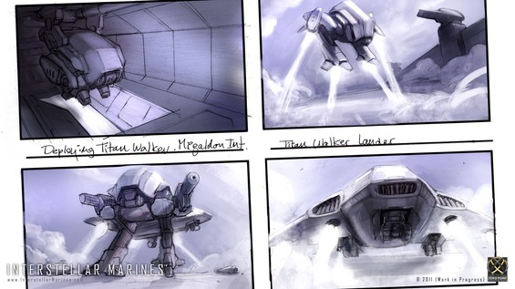 Another slice from our IM: Prologue storyboard; In most hot zones its standard ITO procedure to deploy a Titan Walker at three down and locked. Equipped with exposable landing jets the Titan Walker performs a quick LZ recognizances and provides support while the Megalodon dropship lands.