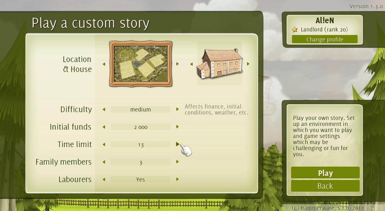 Custom story settings