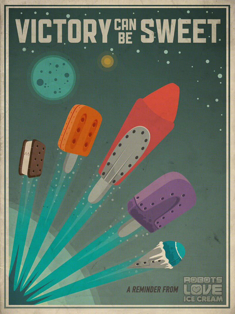 Robots Love Ice Cream Poster