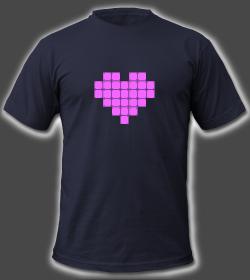 Valentines Pixel Neon Heart Male Shirt Design