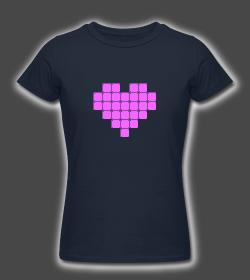 Valentines Pixel Neon Heart Female Shirt Design