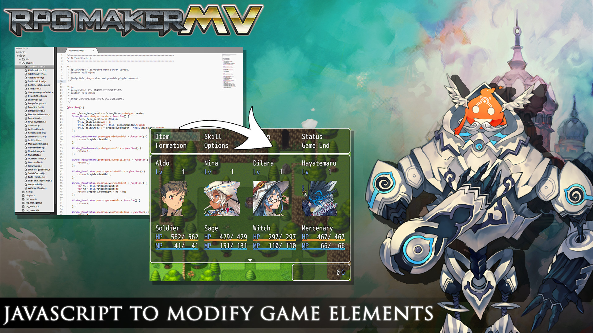 Javascript to modify game elements image - RPG Maker MV - Indie DB
