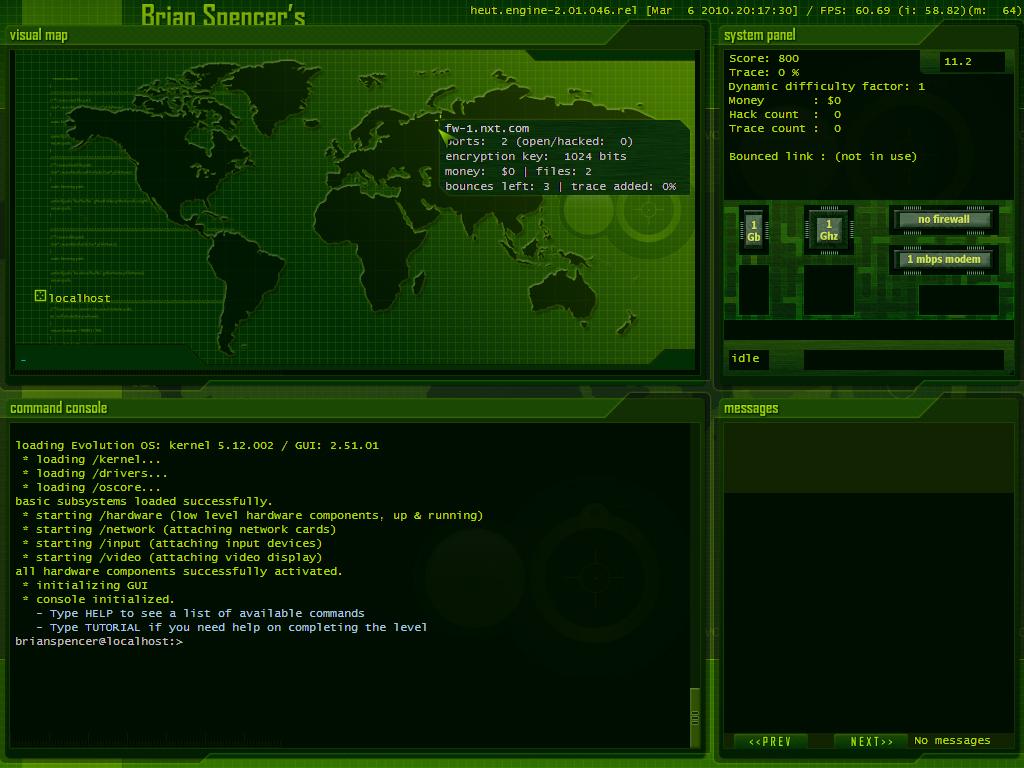 Hacker Evolution: Untols screenshots Statistics.