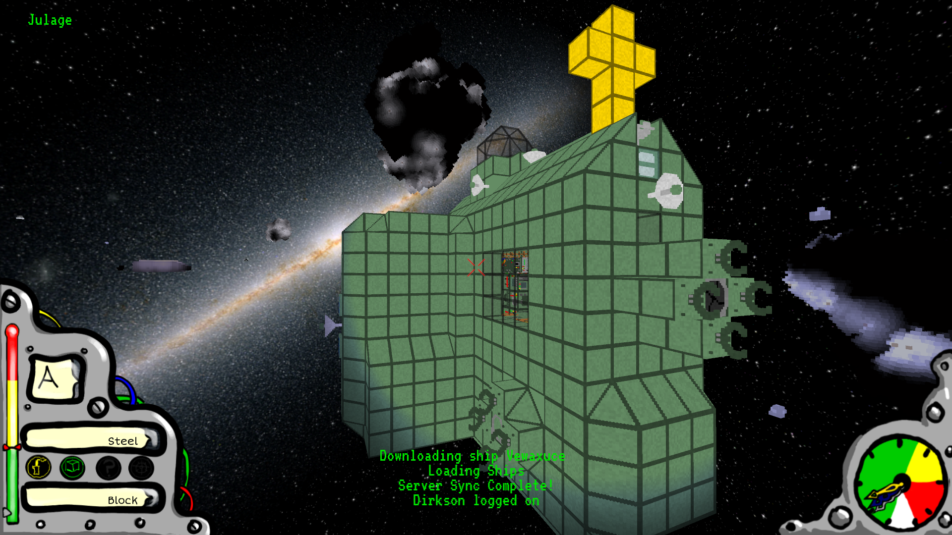 Green granite ship in an asteroid field - Indie DB