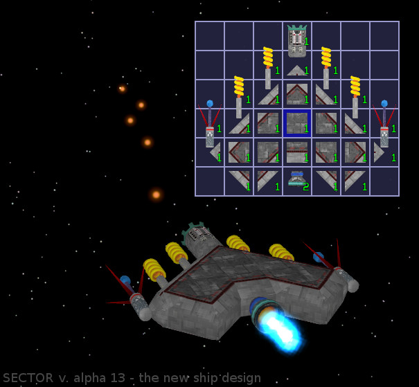 A player's ship in Sector