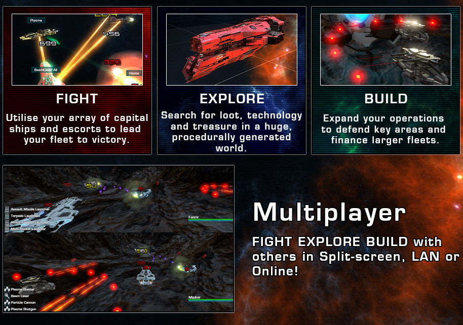 Explore<br /<<br /< Explore, Fight and Trade in a vast galaxy, be the first to reach the galactic core and claim the treasures that lie within in the Story Mode campaign, or play in a procedurally generated galaxy with a uniquely generated main quest line.<br /<<br /<Recruit and train crew-members from around the galaxy, train them and earn their loyalty and perhaps give those that excel a ship of their own in your fleet.<br /<<br /<Fly <br /<<br /< Fly a variety of ships from the lowly Frigate to the Hulking Freighter and Mighty SuperCarrier, fitting each ship however you want using the huge selection of equipment modules.<br /<<br /<Build a fleet of your own to protect your valuable freighters, or to hunt down and plunder those that cross you.<br /<<br /<Fight<br /<<br /<Lead your fleet into battle against your enemies and reap the rewards of conquest in the in-depth turn based combat system.<br /<<br /<Utilise a staggering array of weaponry from the simple Autocannon and Beam Laser up to the devastating Railgun and beyond.<br /<<br /<Compete in televised for-profit fleet fights to earn special equipment and ships as well as fame and fortune.<br /<<br /<Trade<br /<<br /<Find the routes through the gate network that make you the most money and haul your valuable cargo to earn the wealth of nations.<br /<<br /<Take part in procedurally generated side-missions and events to earn extra cash, special equipment and even ships while you claw your way to the top.