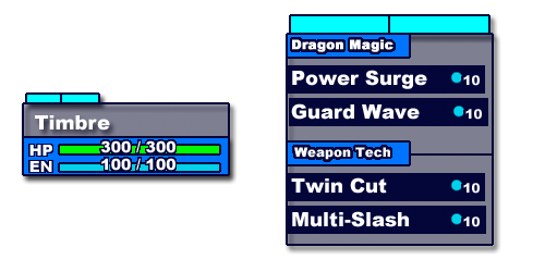 The updated player data card makes it easy to check a unit's stats with a glance. The updated action menu will display action category headers and energy costs.