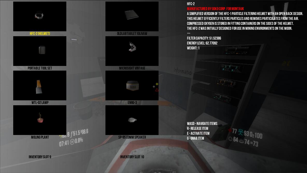Temporary inventory menu