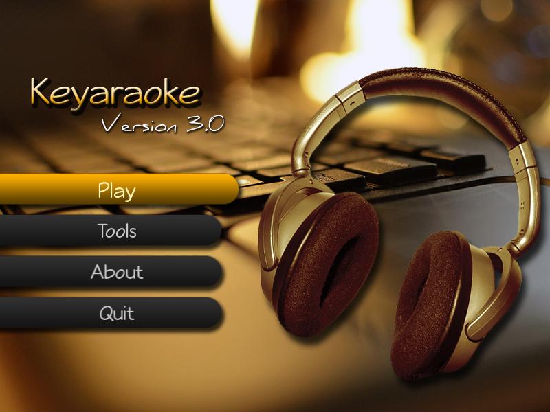 Keyraoke v3 main menu screen