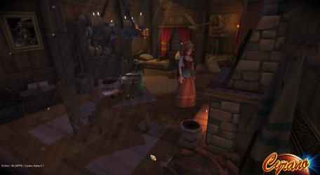 Ninon in Cyrano's apartment (3D third-person)