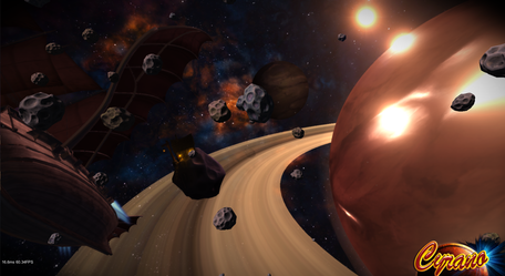 Deathblow, Cyrano's ship, is leaving orbit... (3D third-person)