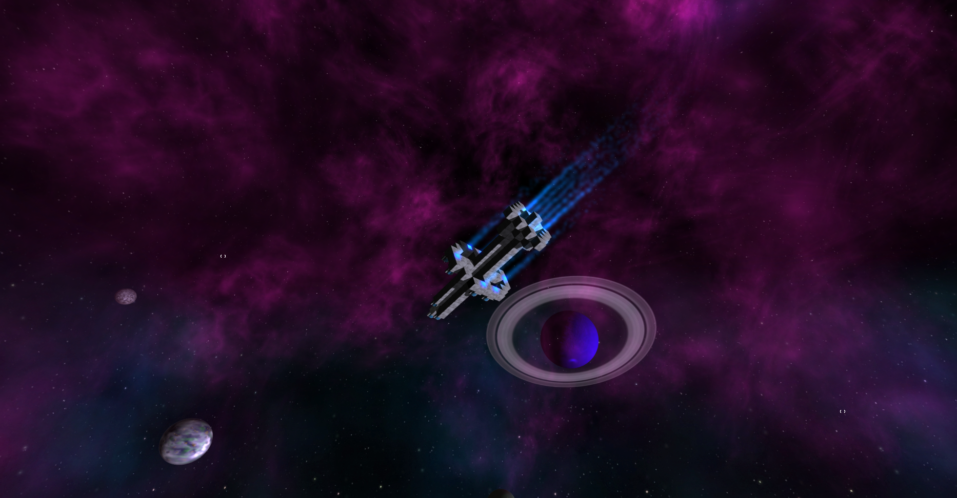 Prometheus flyby of a purple nebula
