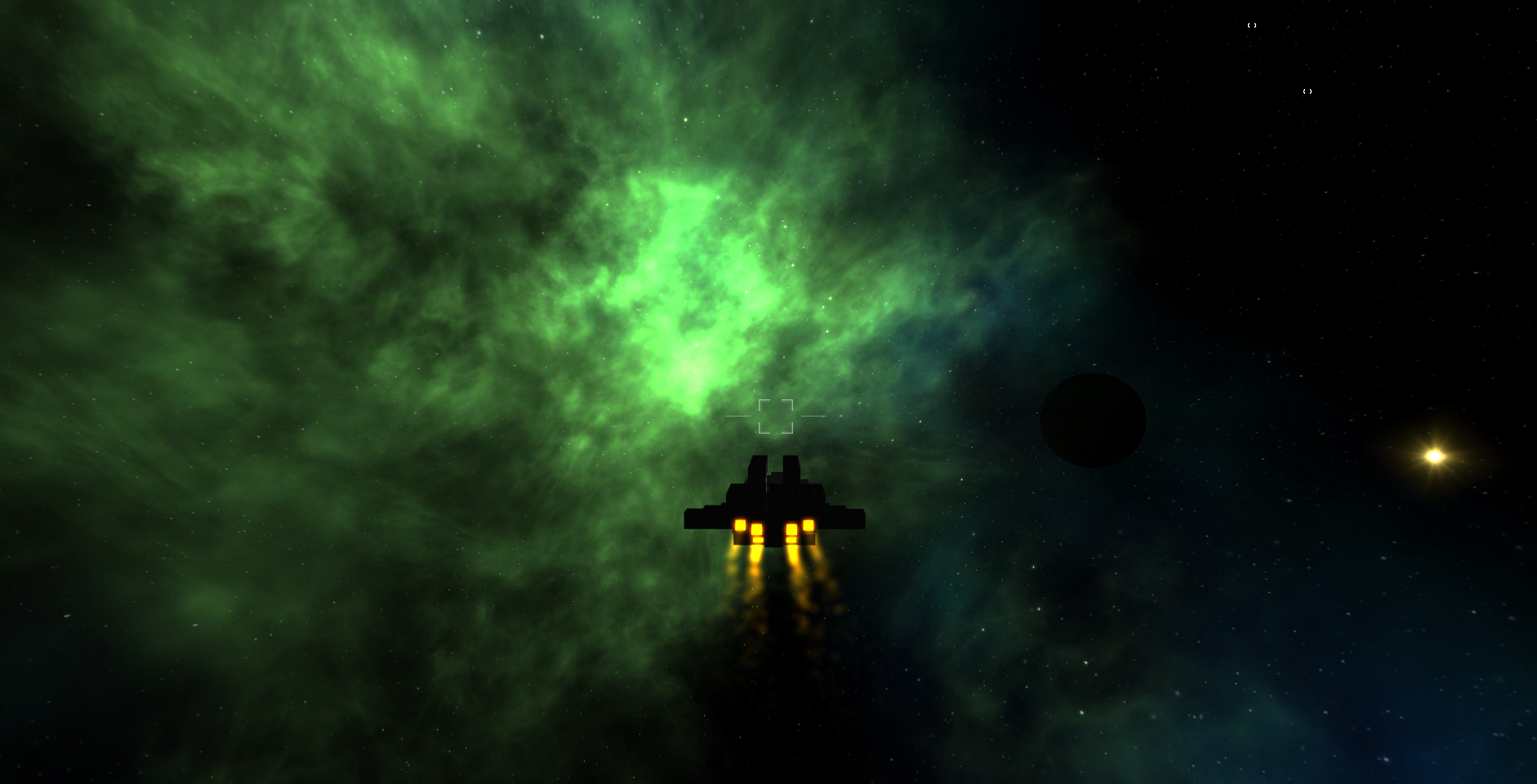 Venator class cruiser entering a green nebula