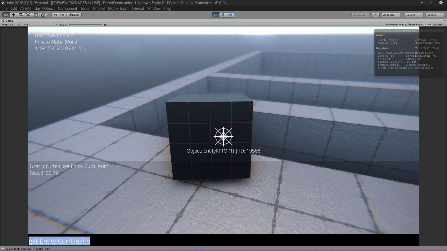 screenshot of dev console open and AI cube facing player