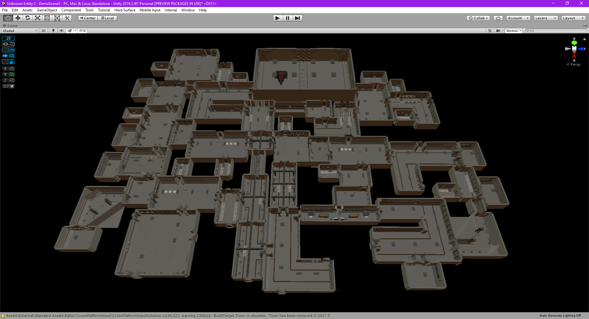 screenshot showing layout of first completed level design