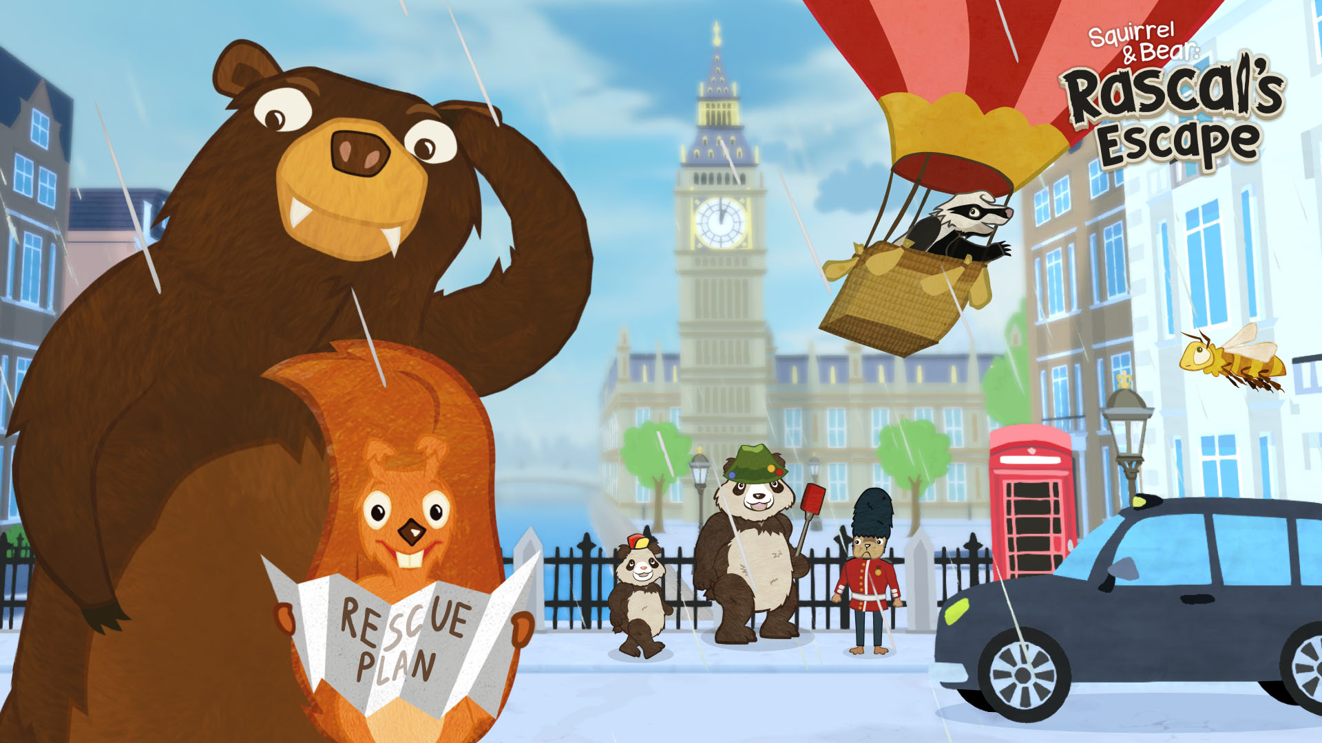 Squirrel and Bear in London watching Rascal in a red Ballon