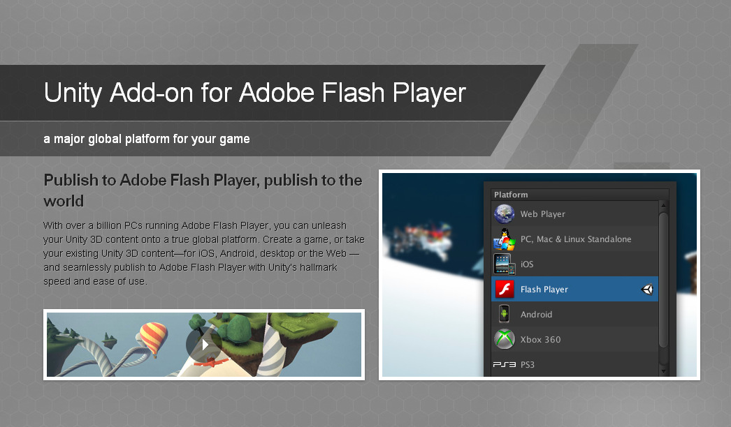 Unity 4 add-on for Adobe Flash Player image - Indie DB