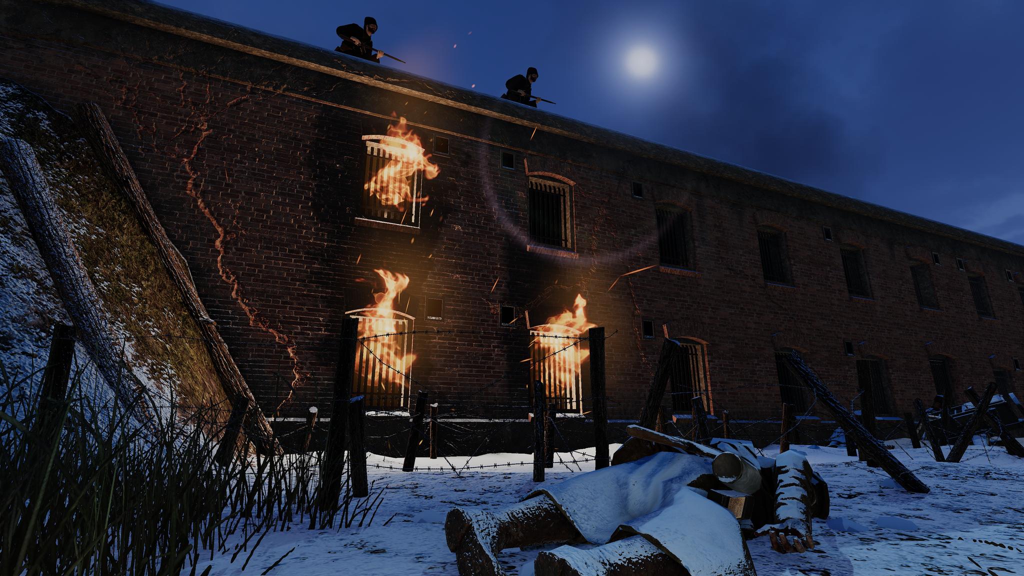 The Przemyśl barracks, burning