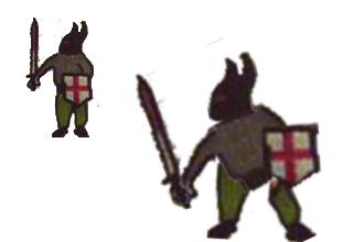 Knight comparison: original art vs in-game