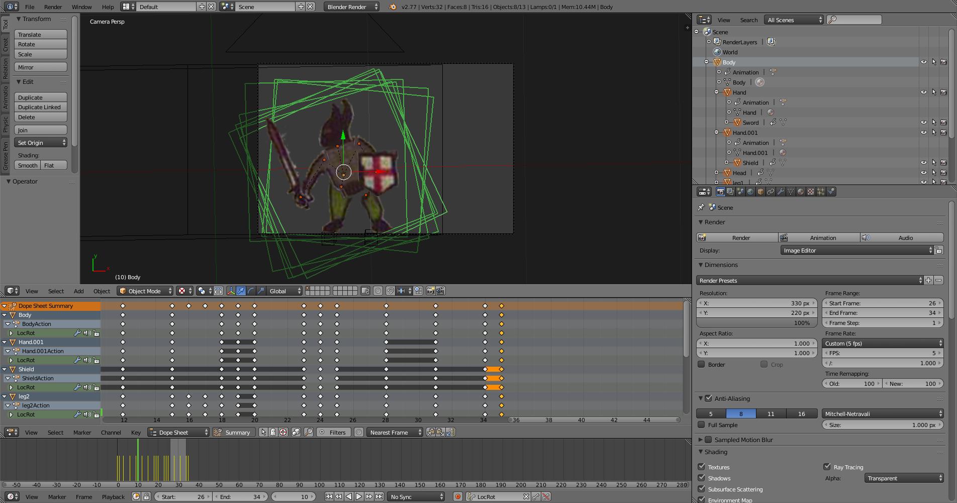 Knight animation in Blender