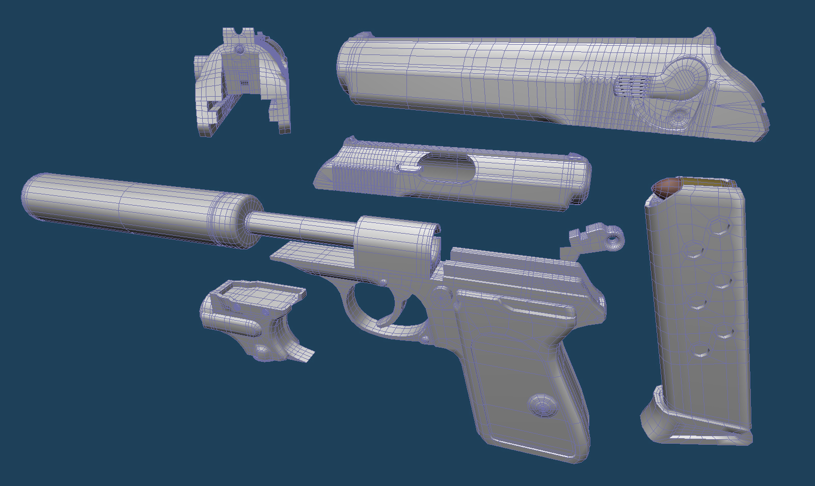 Walther PPK High Polygon Model Wireframe image