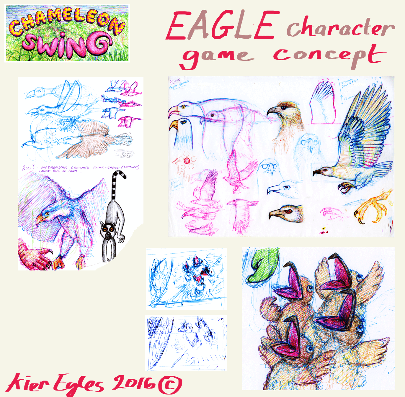 The collection of concept art for the crazed eagle.