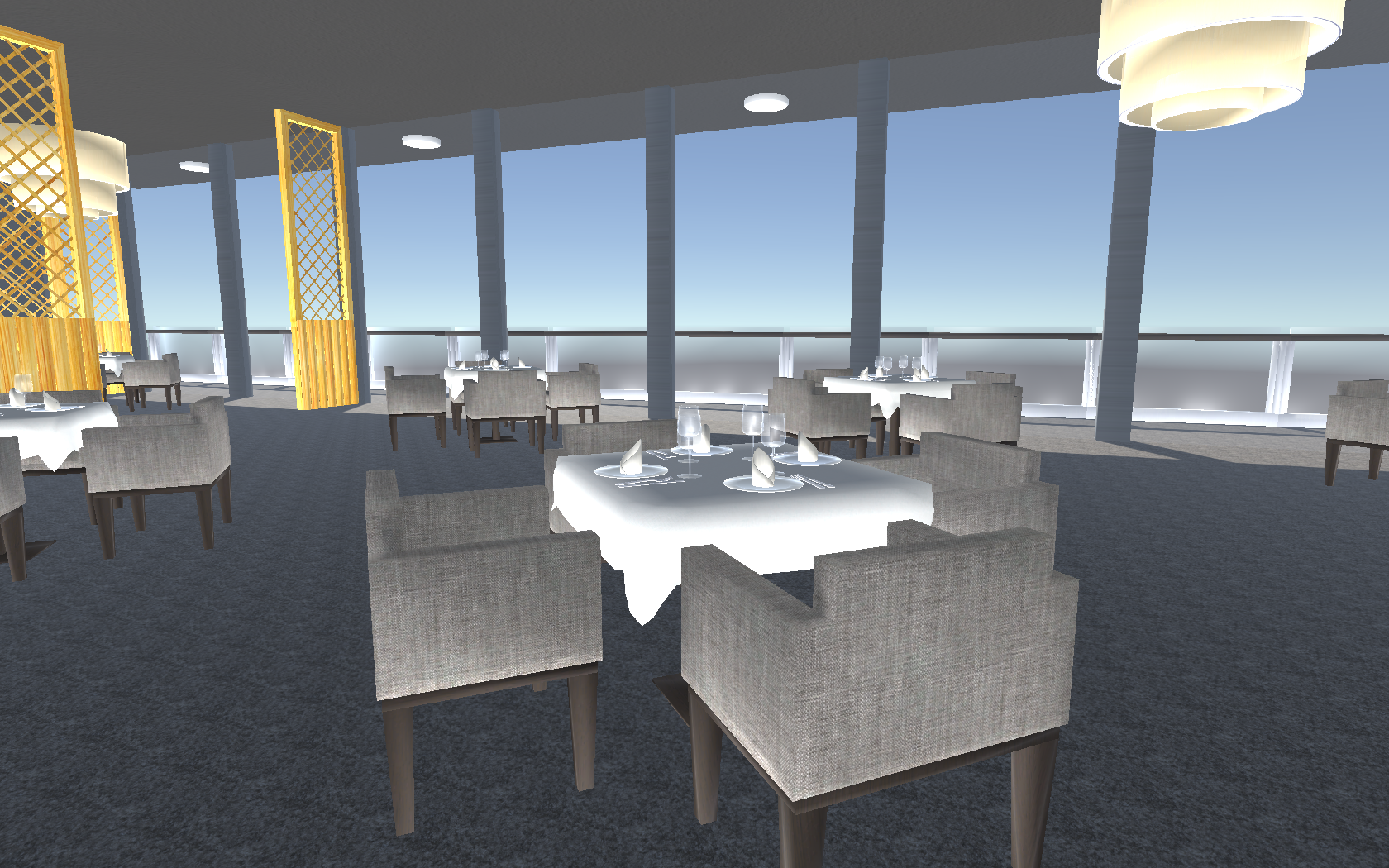 Classy dining with the world within your view.